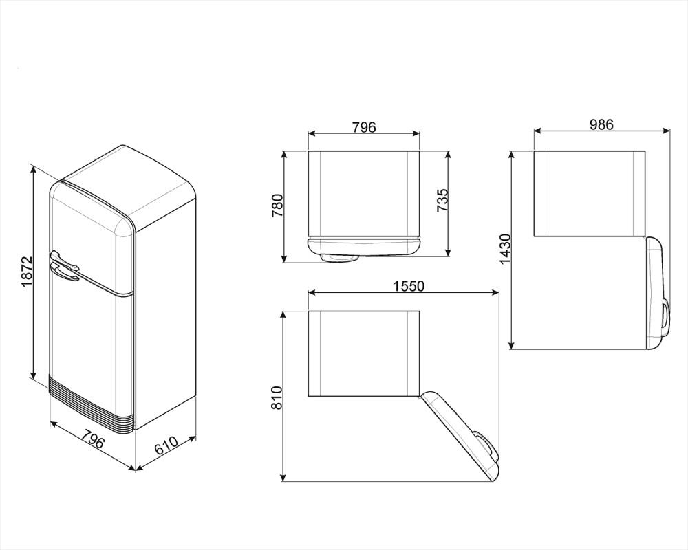 Отдельностоящий двухдверный холодильник Smeg FAB50RPG