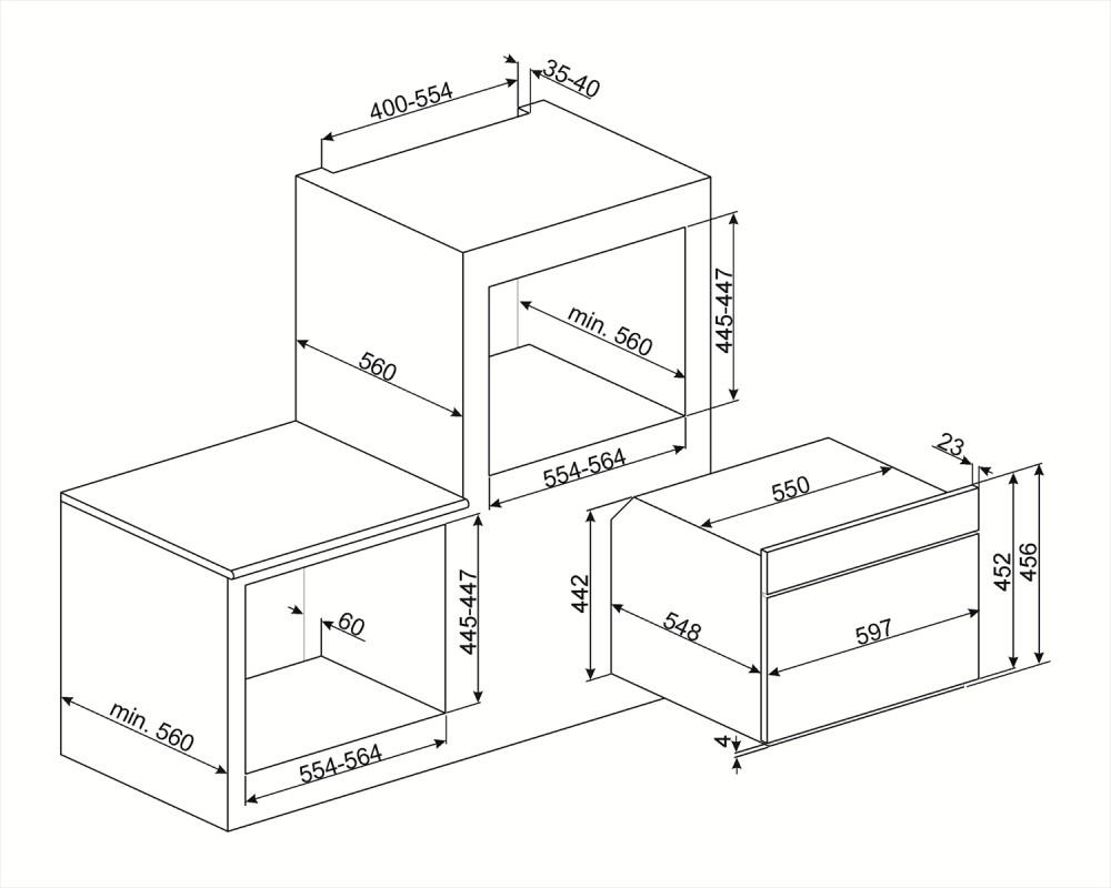 Компактный духовой шкаф Smeg SF4390VCX1