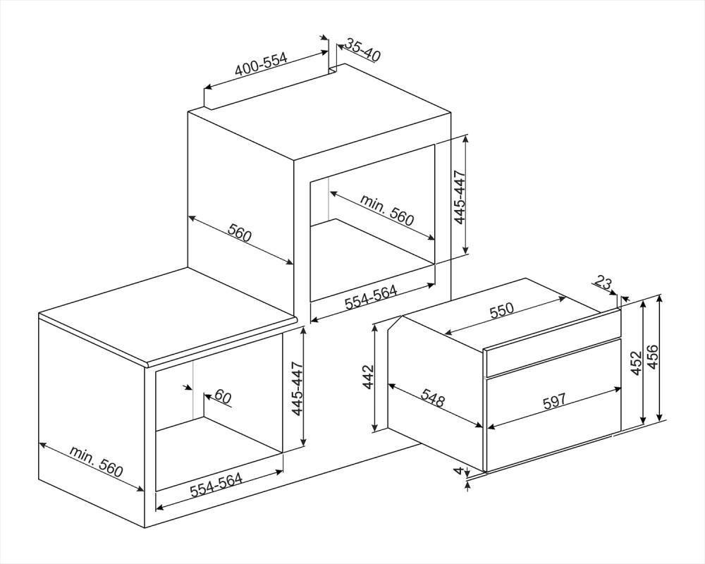 Компактный духовой шкаф Smeg SF4604VCNX1