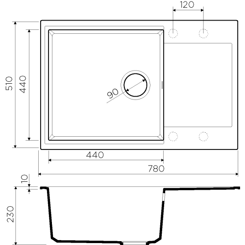 Мойка OMOIKIRI Daisen 78-LB-MA Artgranit/марципан