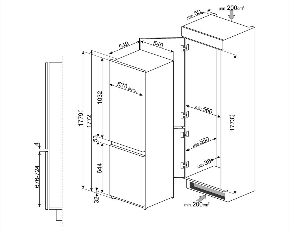 Встраиваемый комбинированный холодильник Smeg C7280NLD2P1
