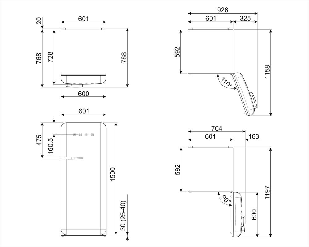 Отдельностоящий однодверный холодильник Smeg FAB28RDBLV3