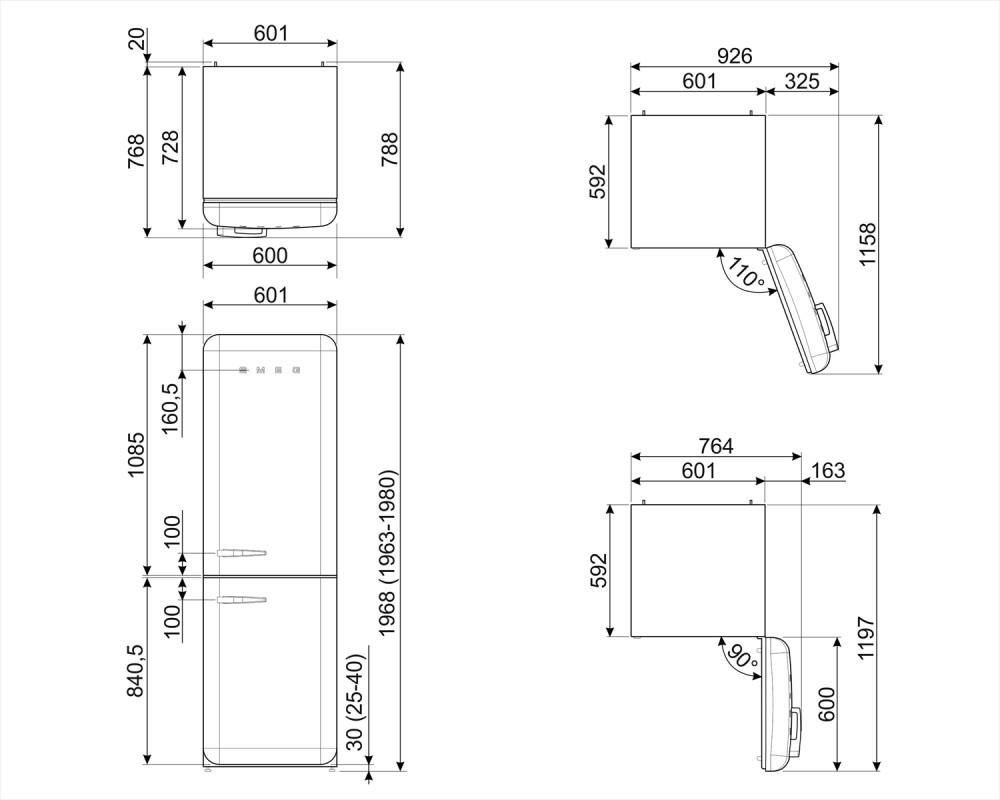Отдельностоящий двухдверный холодильник Smeg FAB32RPG3