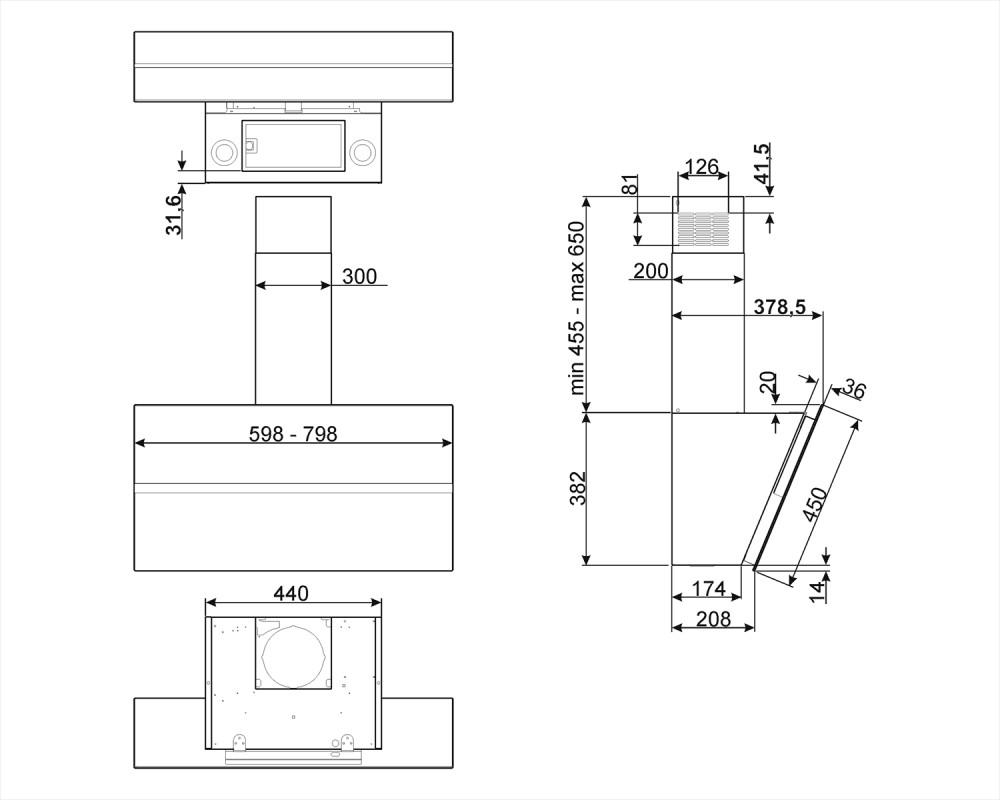 Вытяжка настенная Smeg KCV80BE2