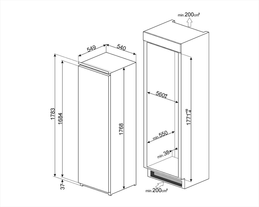 Встраиваемый однодверный холодильник Smeg S7323LFEP1