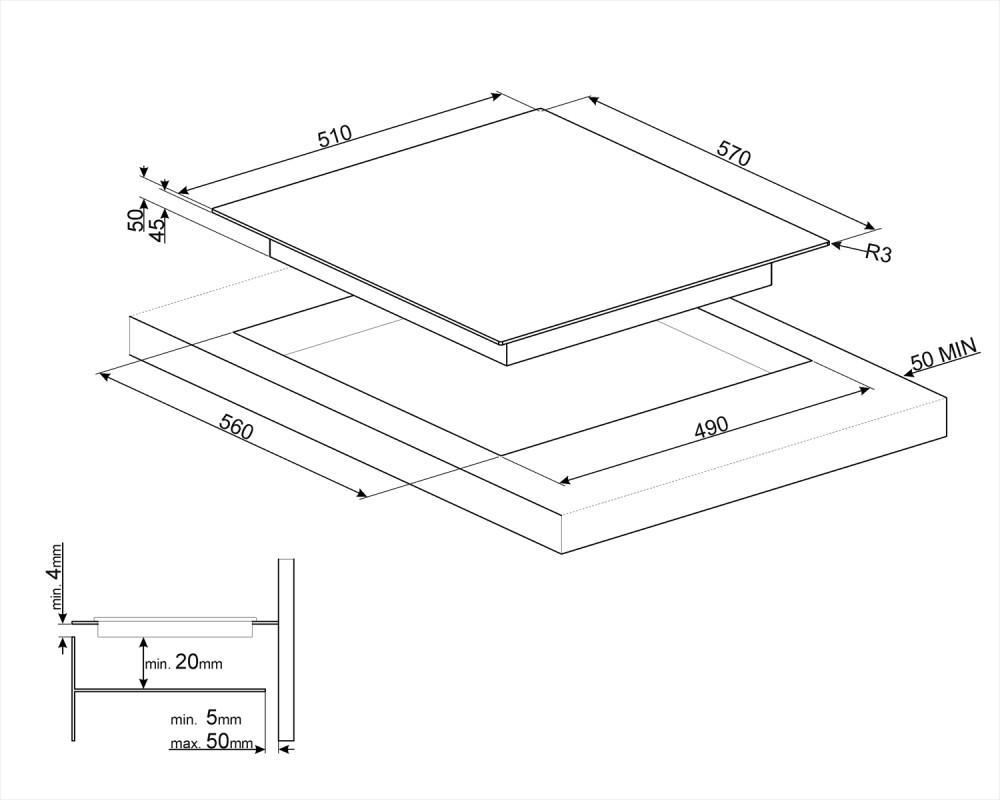 Cтеклокерамическая варочная панель Smeg SE364ETFX