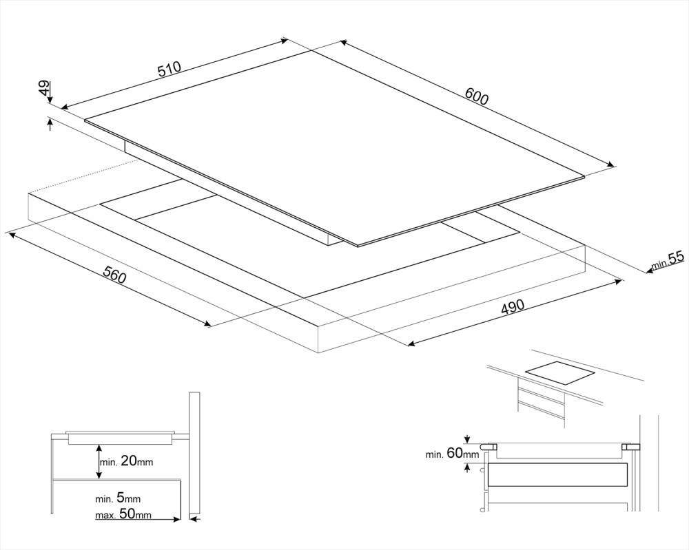 Индукционная варочная панель Smeg SI2M7643B