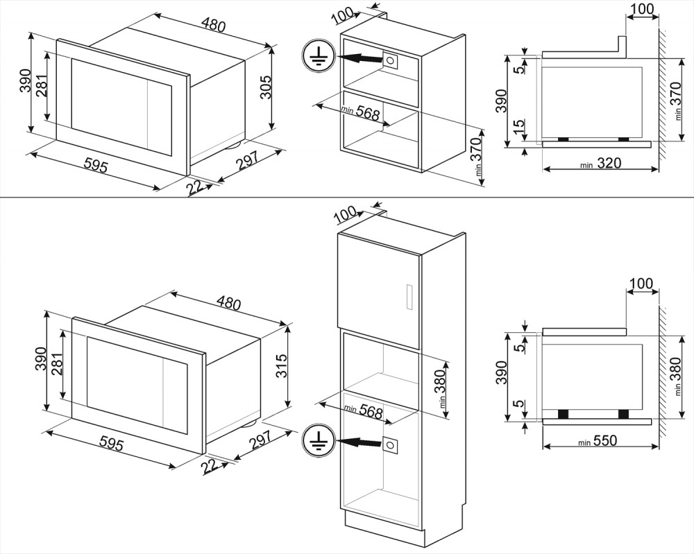 Встраиваемая микроволновая печь Smeg FMI120N1