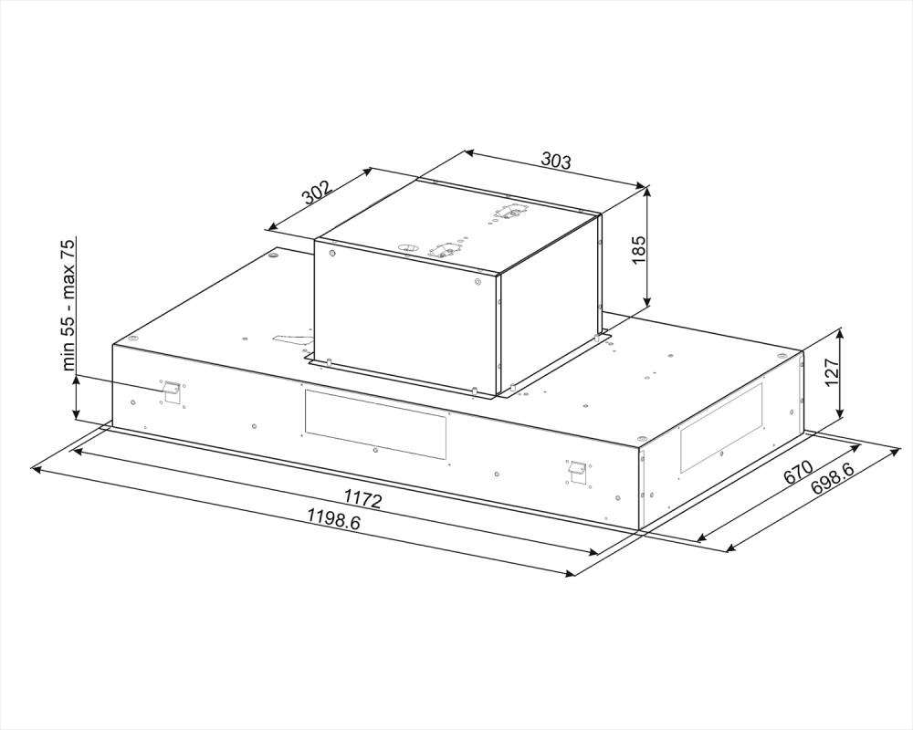 Вытяжка потолочного монтажа Smeg KSEG120XE-2