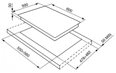 Газовая варочная панель SMEG SR764BS