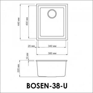 Мойка OMOIKIRI Bosen 38-U-BL Tetogranit/черный