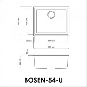 Мойка OMOIKIRI Bosen 54-U-BL Tetogranit/черный