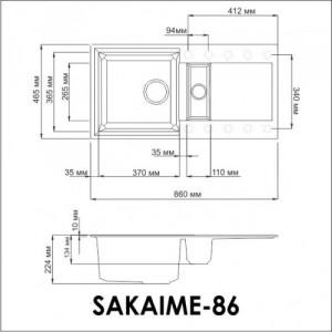 Мойка OMOIKIRI Sakaime 86-2-PL Tetogranit/платина