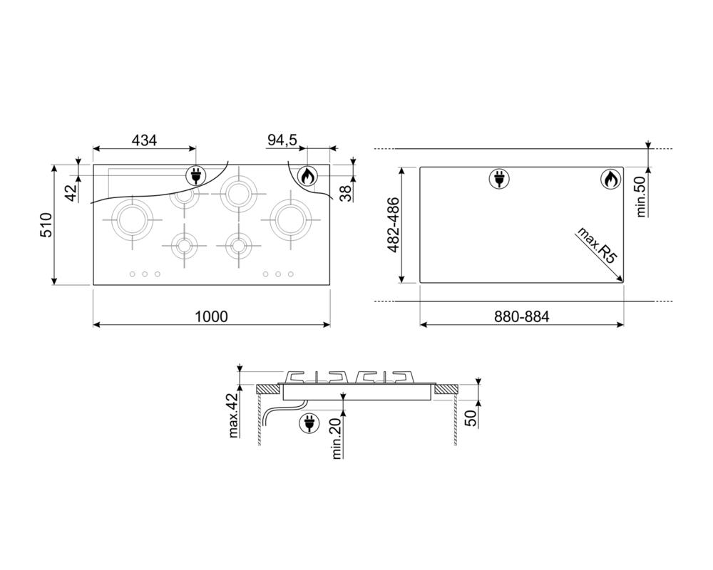 Газовая варочная панель SMEG PXL6106