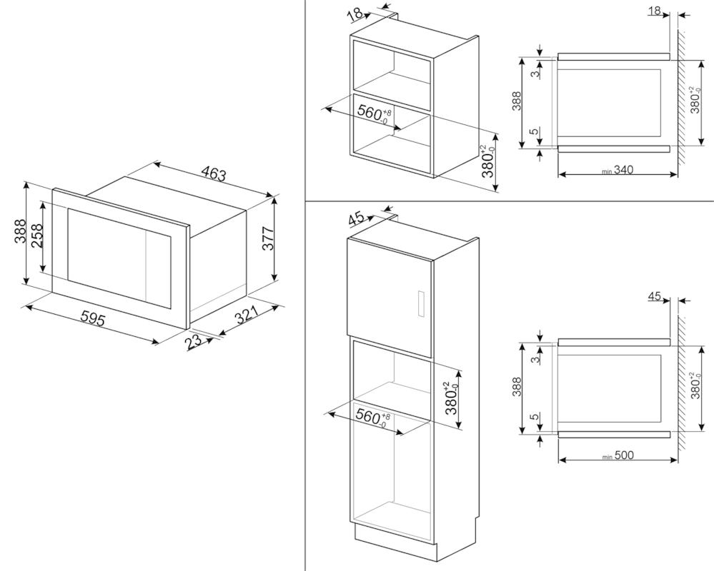 Встраиваемая микроволновая печь Smeg FMI020X