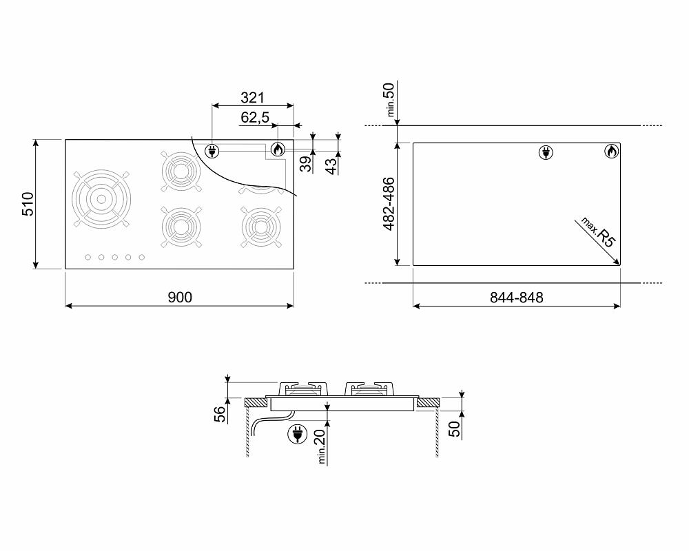 Газовая варочная панель SMEG PV695LCNR
