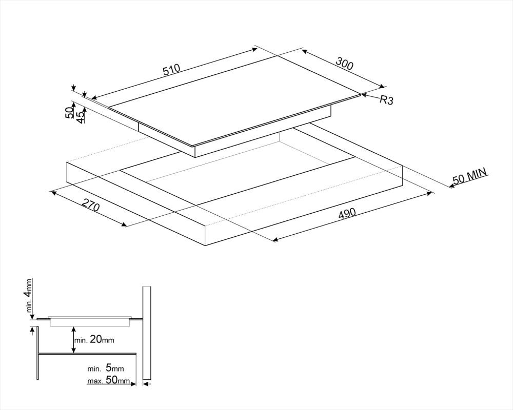 Cтеклокерамическая варочная панель Smeg SE332EB