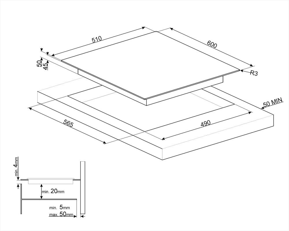 Cтеклокерамическая варочная панель Smeg SE363ETB