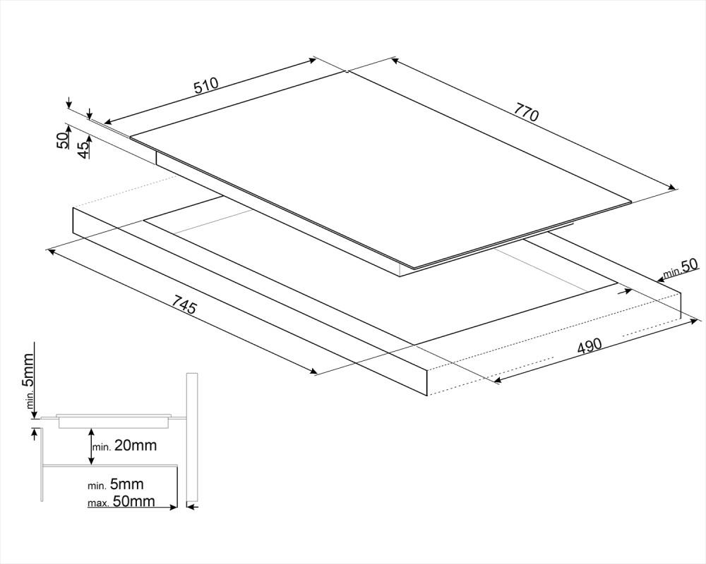 Cтеклокерамическая варочная панель Smeg SE385EMTB